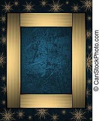 The Christmas frame on a blue background with beautiful stars