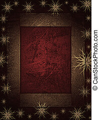 The Christmas frame on a red background with beautiful stars
