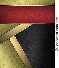 black background with inserts of gold color for writing and...