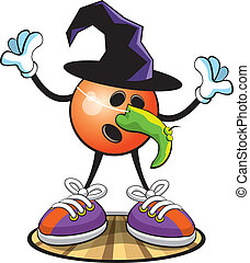 Bowling ball character- Halloween - A vector illustration of...