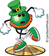 Bowling ball character- St. Pat - A vector illustration of a...