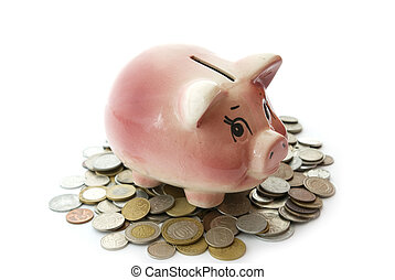 piggy bank with coins - Pink piggy bank isolated on white...