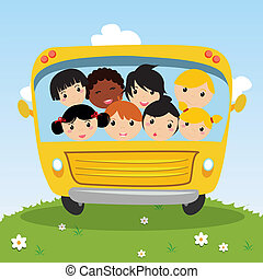school bus with kids on abstract special background