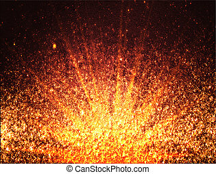 Design template - Abstract orange background of particles.