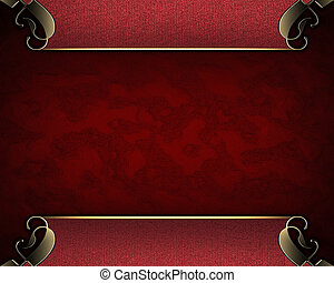 Abstract red background with red border with pattern. -...