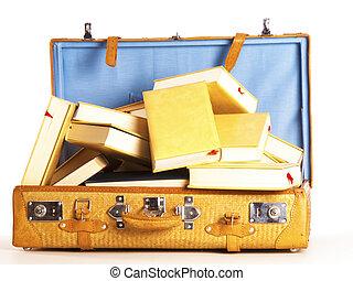 volle, reizen, boekjes, achtergrond, koffer, witte