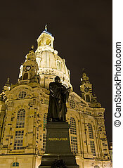 Frauenkirche and Neumarkt in Dresden at night