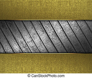 Golden texture with iron plate in the middle.