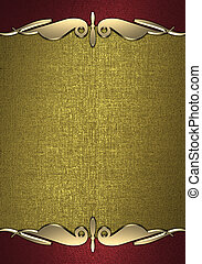 Red Background with gold plate and a beautiful gold trim -...