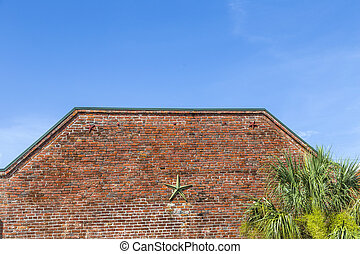 Background of brick wall texture with construction to keep...