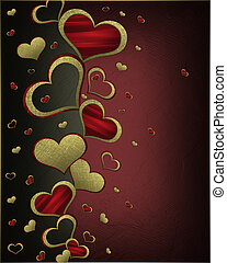 Golden hearts on a black background, with a red nameplate....
