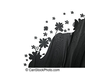 white Background with black abstract plant pattern