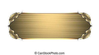Gold nameplate with gold ornate edges, isolated on white...