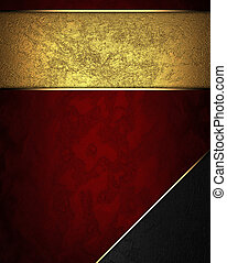 Red texture with gold nameplate and with black corner -...