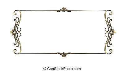 Gold frame. gold ornate edges, isolated on white background...