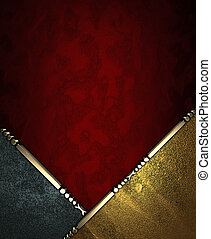 Red rich texture with black and gold corners - Design...