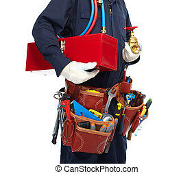 Plumber with a tool belt - Handyman with a tool belt...