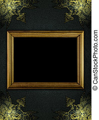 Black texture with worn gold corners and wooden frame -...