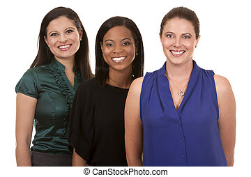 three business women - group of women wearing office outfits...