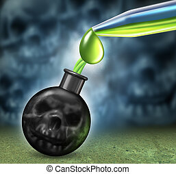 Chemical Weapons - Chemical weapons concept with a bomb as a...