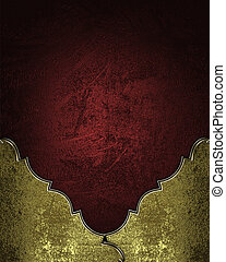 Red rich texture with gold corners and gold trim - Design...
