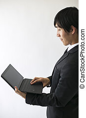profile of business man with tablet