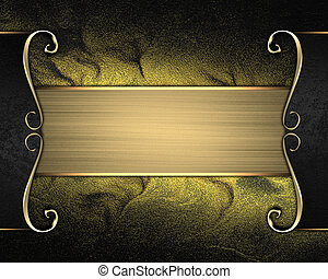 Rich dark gold background with a beautiful plate and gold...