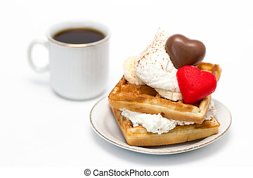 Waffles and coffee - Sweet waffles with whipped cream and...