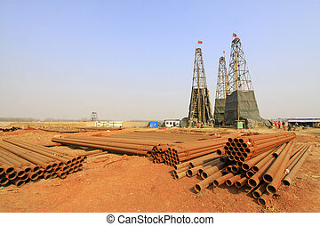 drilling derrick in a iron mine, China - MACHENG - MARCH 26:...
