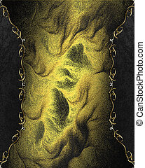Abstract golden texture with black edges with floral pattern...
