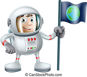 Cartoon Astronaut - An illustration of a cute cartoon...