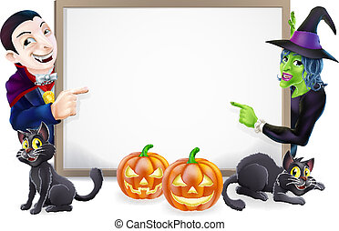 Halloween Dracula and Witch Sign - Halloween sign or banner...