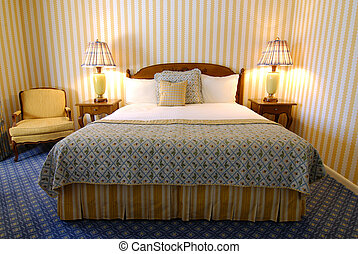 Bed in Bedroom - Bed with headboard, lamps and chair