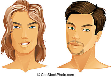 Hairstyles - Two handsome men with different hairstyle