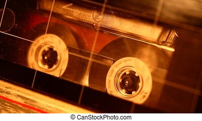 Audio cassette in movement