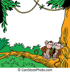 two monkeys - The illustration shows two funny monkey...