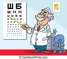 In the office of an ophthalmologist - The illustration shows...