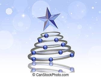 Abstract 3D Chrome Christmas Tree - Abstract 3D...