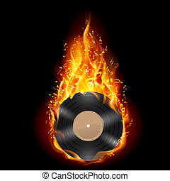 Vinyl disc in flames of fire. - Burning vinyl record with...