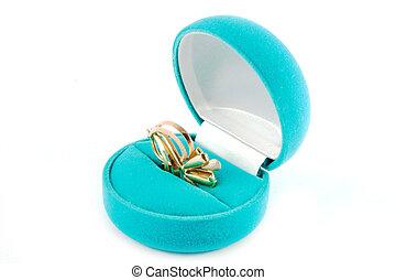 Blue velvet box.