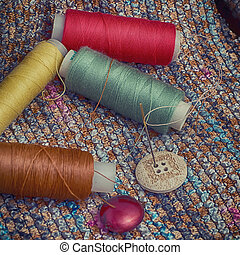 set of seamstress for needlework - Four spools of thread...