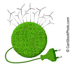Green energy concepts - Green planet with wind turbinesGreen...