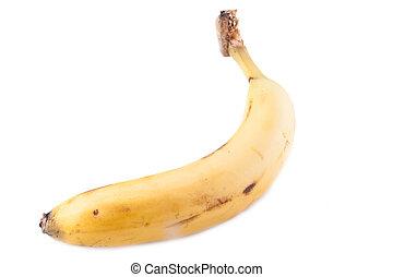 Single yellow banana. Isolated on white background.