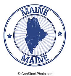 Maine stamp - Grunge rubber stamp with the name and map of...
