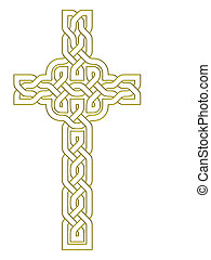 Gold cross over white background - Celtic knot style design