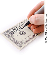 Male hand draw nil on dollar photographed on a white...