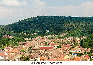 antigas, vila, aéreo, vista