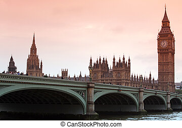 Sundown at Big Ben, classic view London gothic architecture,...