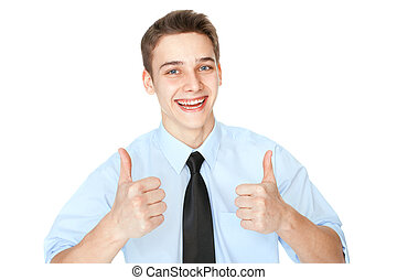 Young smiling businessman showing thumbs up isolated on...