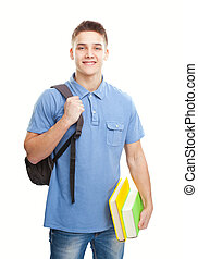 smiling student with books and backpack isolated on white -...